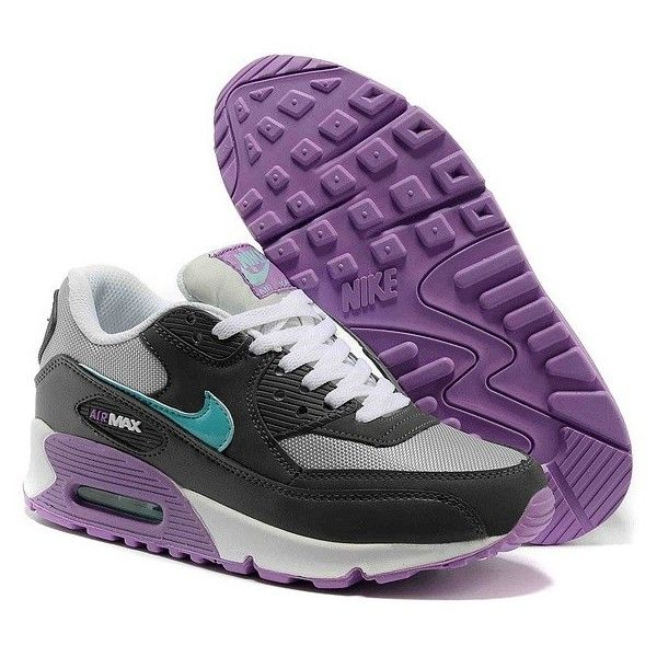 Nike Air Max 90 Womens Trainers Purple Black ❤ liked on Polyvore featuring shoes, sneakers, nike trainers, black shoes, nike footwear, purple shoes and nike sneakers
