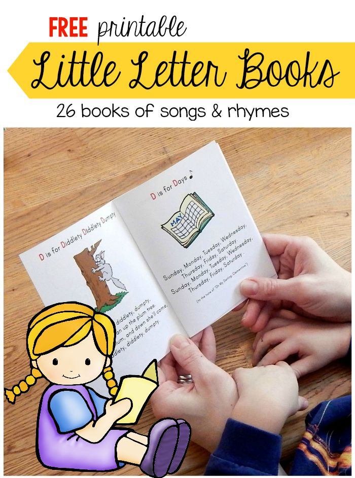 Print these free letter books!  Each one has six songs and rhymes for preschoolers.  Great for teaching letter sounds!