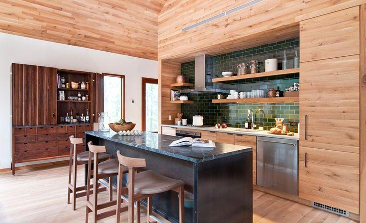 bar chairs, green tile, wooden cabinets...  HudsonWoods - desire to inspire - desiretoinspire.net