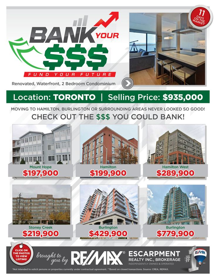 Bank Your $$$: FUND YOUR FUTURE   Do you enjoy saving money? Perhaps leaving the GTA and moving to the Hamilton/Burlington or a Surrounding Area is just the opportunity for you and your family!   Check out some of our current listings to see the comparison and the $$$ you could BANK!!!      If these condominiums are NOT in your price range, then check out www.whatchagetfor.com  to find homes within your budget.