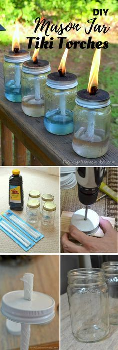 Check out the tutorial: DIY Mason Jar Tiki Torches Industry Standard Design