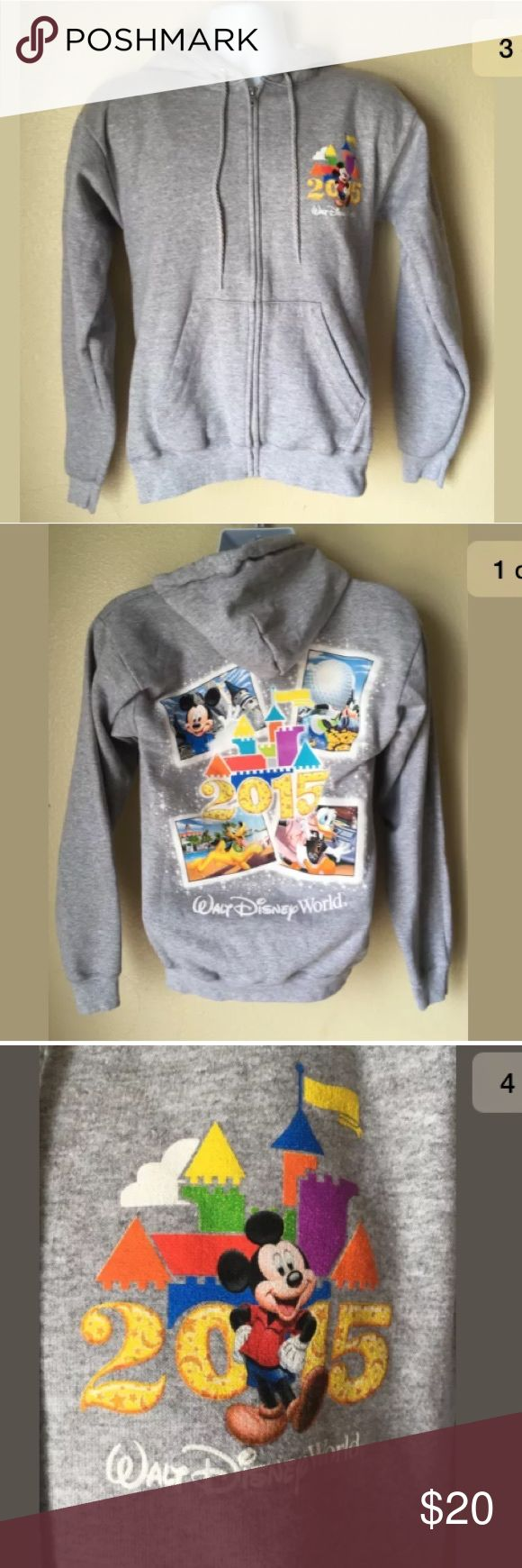 Disneyland 2015 Gray Zipper Hoodie Small Disneyland 2015 Unisex / men's Gray Zipper Hoodie Adult Small S Disneyland Shirts Sweatshirts & Hoodies