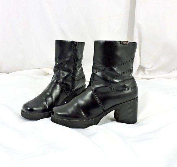 70dca922e19 90s chunky boots size 9 / vegan black platform ankle boots / 1990s ...