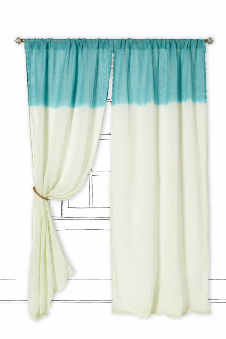 Drop cloth curtains dyed - Ombre Waves Curtain Anthropologie Buy Fabric A Dip Dye