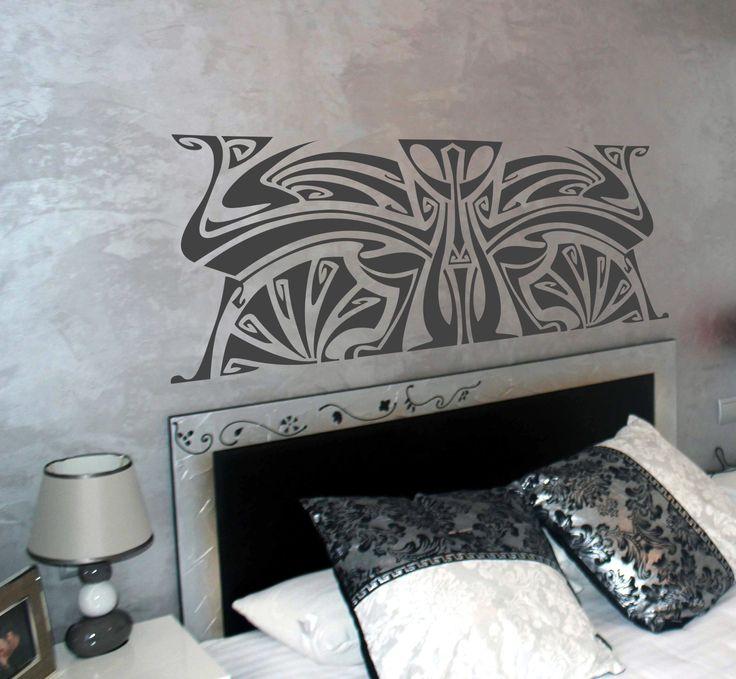 Vinilo decorativo cabecero de cama art noveau 1.