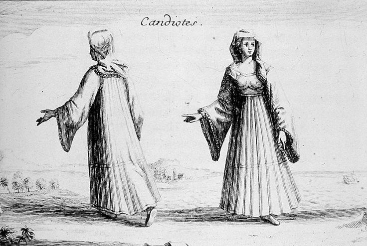 Candiotes (Γυναίκες της Κάντιας [Ηράκλειο Κρήτης]), Joseph Pitton de Tournefort, Relation d'un voyage du Levant, Paris 1717. Collection Peloponnesian Folklore Foundation, Nafplion