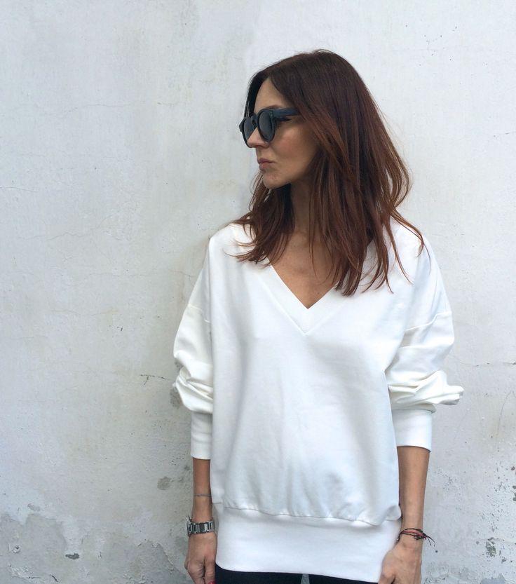 v-neck, blouse, white, new kogotho