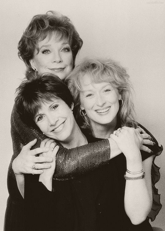 Shirley MacLaine, Meryl Streep and Carrie Fisher in a promotional photo for Postcards From The Edge, 1990.