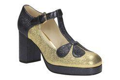 Orla Abigail, Gold Sparkle Leather, Womens Smart Shoes