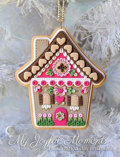 новогодний пряничный домик из полимерной глины