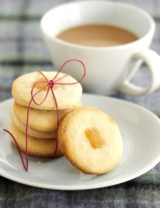 These crumbly ginger shortbreads are perfect for elevenses with a hot cup of tea or alternatively with strawberries and cream for dessert.