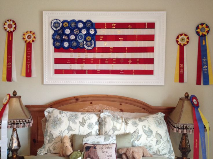 Horseshow ribbon display! Great way to hang your old ribbons!