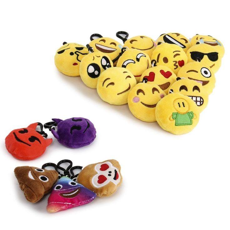 Mini Emoji Keychain 20 pack Plush Pillows Emoticon Key Ring Soft Party Toy Gift