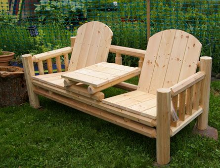 Double Adirondack Chair With Table Plans - WoodWorking ...