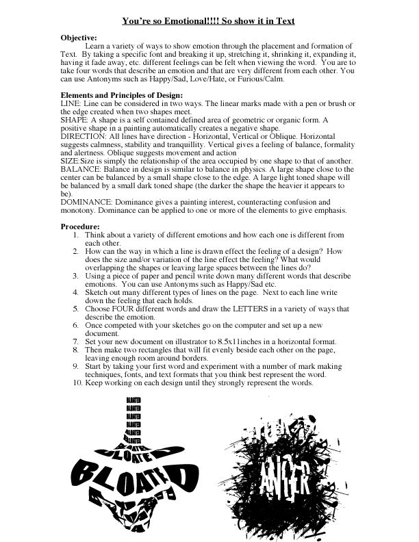 emotional typography project handout art lesson planning pinterest typography projects