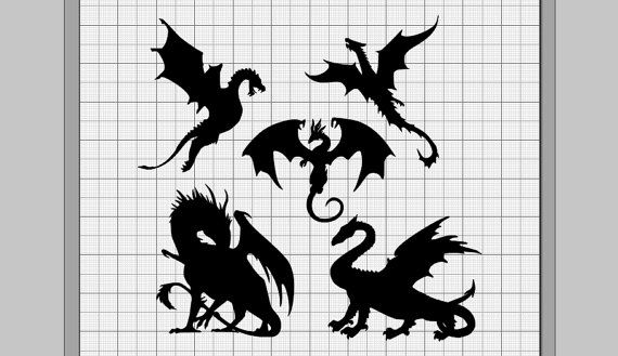 Dragons Silhouette Collection SVG dxf eps pdf png svg