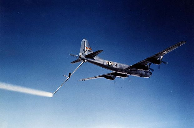 No smoking! A Boeing KB-29P Superfortress with aviation fuel streaming out of its boom. Image Credit: USAF