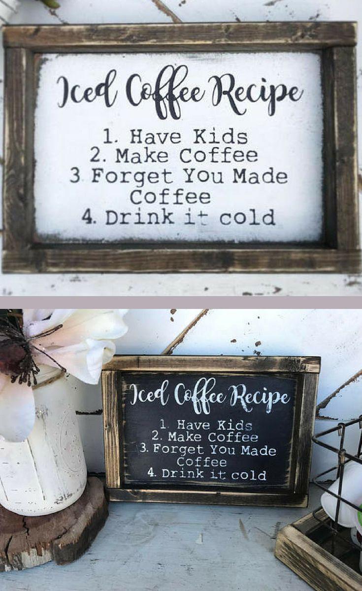 This Is My Life Iced Coffee Recipe Coffee Bar Sign Home Decor Funny Coffee Sign Mom Si Coffee Bar Signs Farmhouse Coffee Bar Funny Kitchen Signs