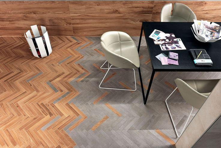 В современном по дизайну ресторане трехмерная настенная плитка Atlas Concorde Dwell Greige 3D Line формата 50х110 см, создающая нарядную игру отражений, эффектно сочетается с лаппатированным керамогранитом Dwell Brown Leather кожаного цвета.