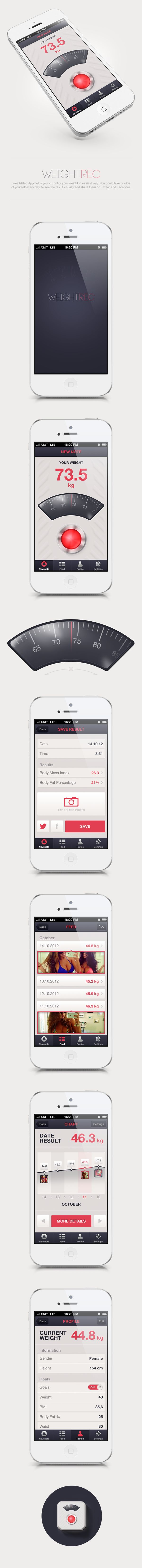 WeightRec App by BLASTAROCKS , via Behance