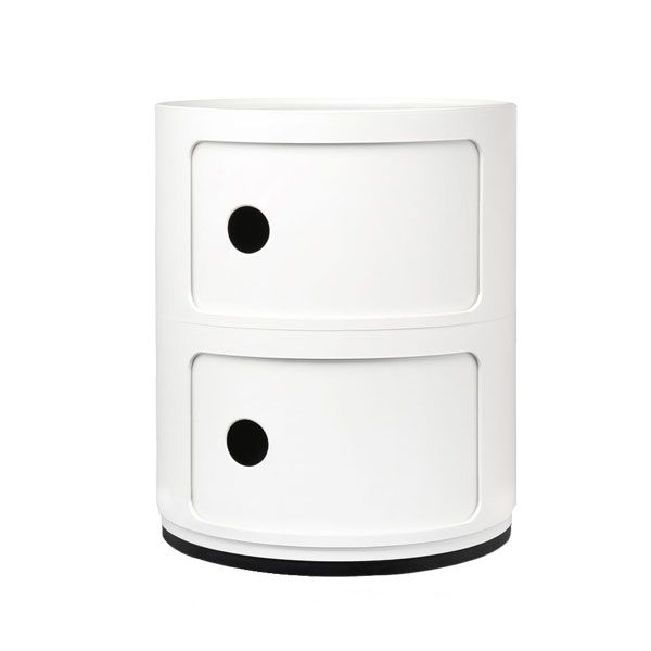 Componibili storage unit, 2 modules, white: Designed in 1969, the Componibili storage unit by Kartell is a design classic. The Componibili is designed by Anna Castelli Ferrieri.