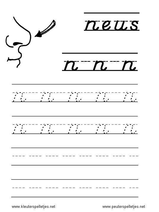 LETTER N | letters leren herkennen en schrijven, alfabet printbladen a t/m z