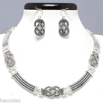Chunky Silver Tone Chain Decorative Knotted Statement Necklace and Earrings Set