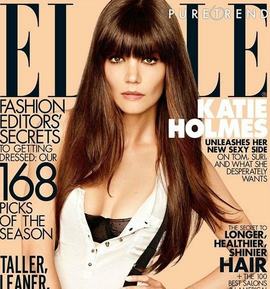 Katie Homes é a capa da edição de agosto da revista Elle americana