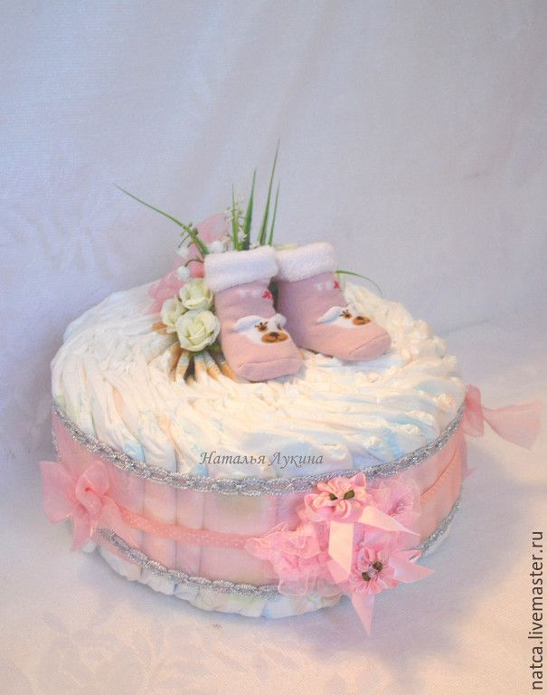 """Купить Торт из памперсов """"Зефирка"""" - розовый, торт из памперсов, торт из подгузников, подарок на выписку"""