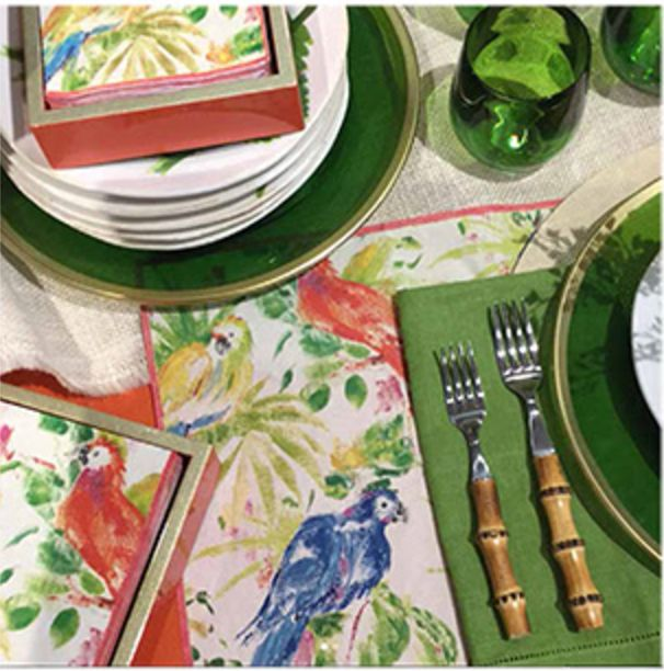 The Tropical Table   Pakageno Napkins, Orange Lacquer Napkin Holder, Green and Gold Acylic Chargers, Green Acrylic Tumblers at www.CaspariOnline.com
