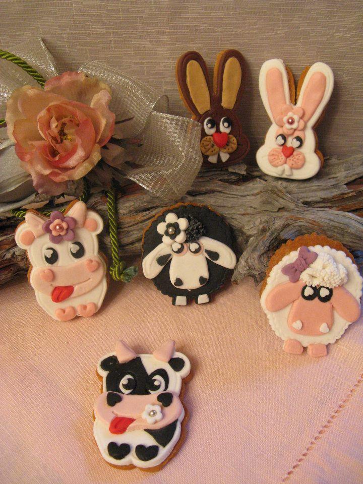 animali di fattoria in pasta di zucchero Biscotti Pasqua Omar Busi