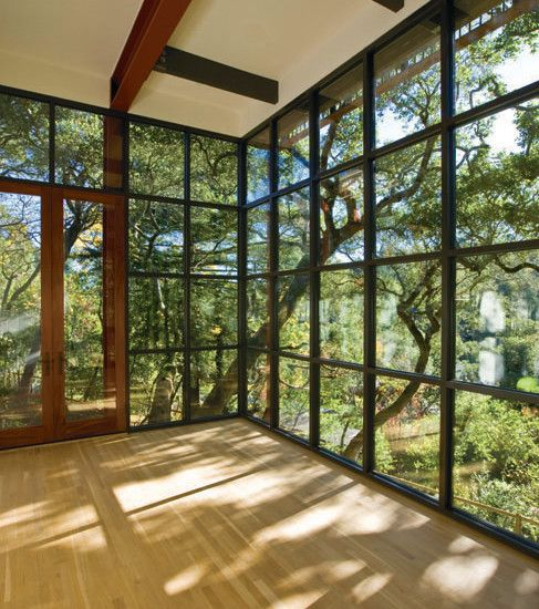 Gym   This wood gym is a great space for yoga, boxing, practicing dance, or any type of exercise! Looking out on the serene trees really makes this gym unique and peaceful!