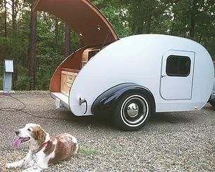 Kathy Teardrop Model with Dog, Camper, Teardrop Trailer, Juno teardrop, camping trailier, teardrop, teardrops, teardrop camper, Juno, Juno Custom Teardrops, Juno Teardrops, Custom Teardrops, Camper, Camping, Small RV