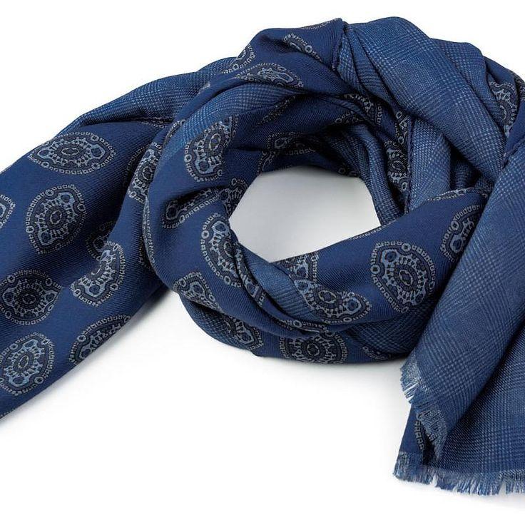 Wool Ornament Scarf in Blue