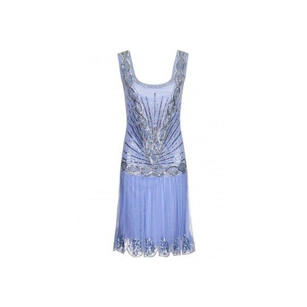 Frock and Frill Athena Flapper Dress in Nude Apricot ❤ liked on Polyvore featuring dresses, vintage cocktail dresses, gold dress, blue vintage dress, blue gold dress and blue cocktail dress