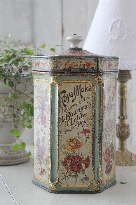 「フランスアンティーク ROYAL MOKA ブリキの缶 RIZ(お米)」ココン・フワット Coconfouato [アンティーク照明&アンティーク家具] フレンチアンティーク キャニスターセット ホーロー 陶器 テーブルウェア --kitchen--