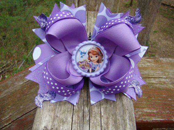 Princess Sofia Sofia The First Inspired Bottle Cap Image Boutique Hair Bow Purple on Etsy, $6.00