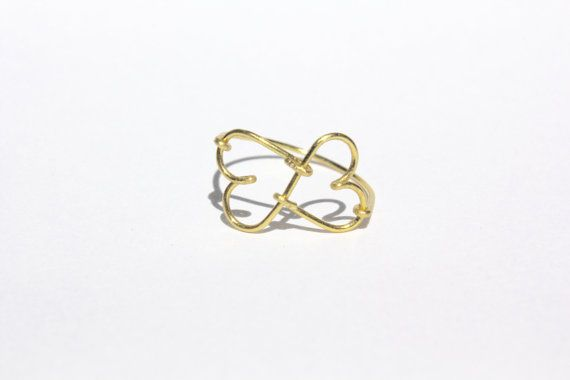 Gold Infinity Heart Wire Ring by MeekAndNeek on Etsy