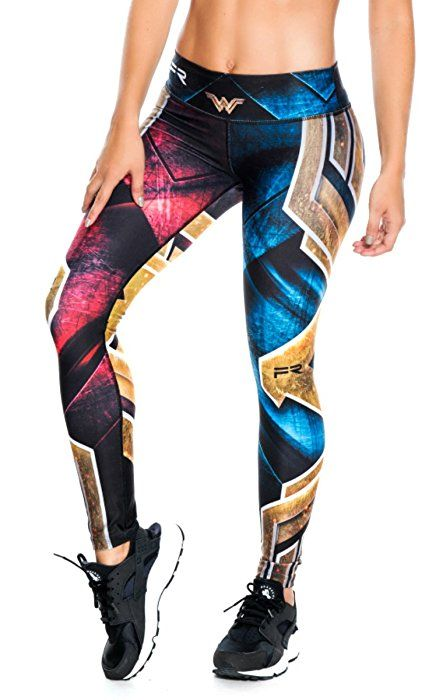 d3bd8f75f7635 Fiber Wonder Woman Superhero Leggings Yoga Pants Women Compression Tights  at Amazon Women's Clothing store:
