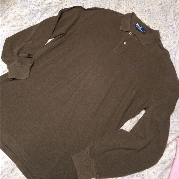 Shop Men's Polo by Ralph Lauren Brown size L Polos at a discounted price at Poshmark. Description: Polo by Ralph Lauren long sleeve green/brown polo. Excellent used condition. Only worn a few times.. Sold by hayneswv. Fast delivery, full service customer support.
