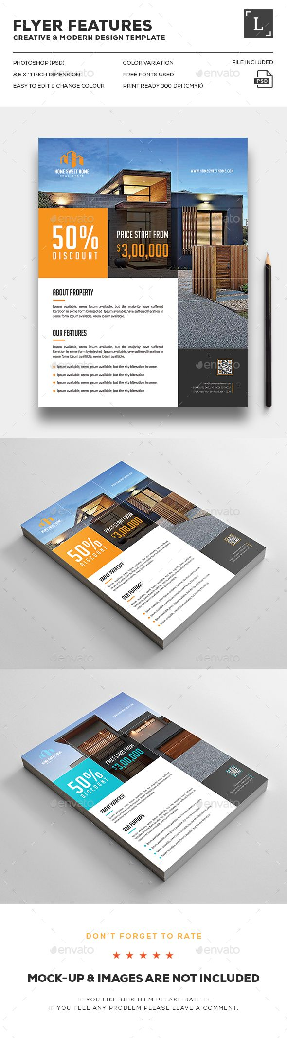 Real Estate Flyer. Print-templates Flyers. Tags all, black, blue, both side desi…Graphic Design Inspirations