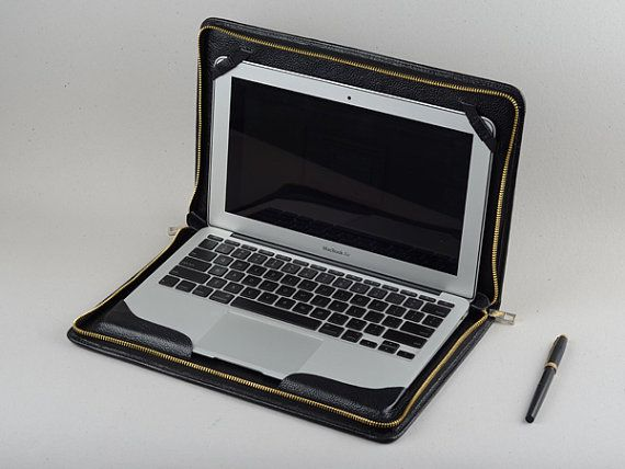 Mac Book Pro and with Retina Slim Business Carrying Full Grain Black Leather Briefcase for Apple PRO/PRO with Retina 13inch/15inch Zippered