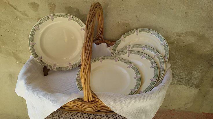 Longwy  6 assiettes plates art déco / Art déco plates / Longwy Janina/ Vintage east of France de la boutique ChezOdileBrocante sur Etsy