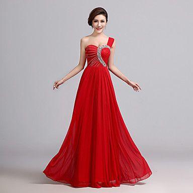 A-line One Shoulder Floor-length Chiffon Evening Dress (X024) – USD $ 69.99