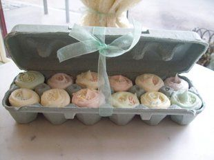 different ways to reuse egg cartons...love the cup cake idea!