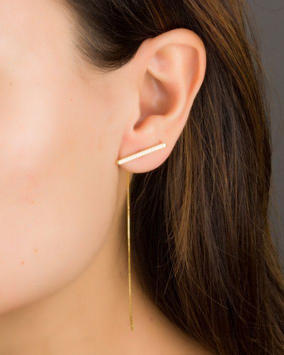 Long Chain Earrings Long Bar Earrings Long Sterling Silver