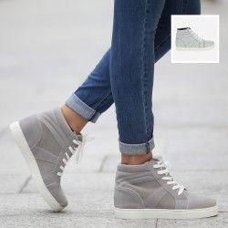Sneakers alte con zeppa effetto scamosciato