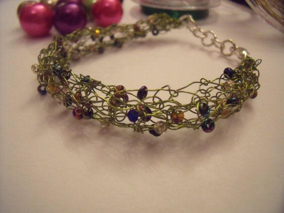 Olive green knitted wire bracelet with mixed by ChickFromLeeds