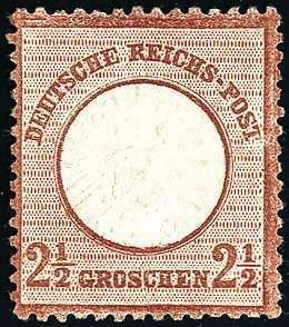 German Empire 2½ Gr., having bright colors, good embossed superb in every respect (choice copy) piece, unused sin goma, photo expertize Hennies BPP. (catalogue value: (3,200.-) )  Dealer Württembergisches Auktionshaus  Auction Minimum Bid: 800.00 EUR