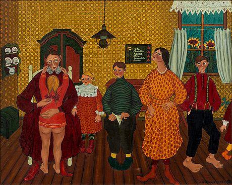 Lea Kauppi: Joka kuritta kasvaa, se kunniatta kuolee, 1973, öljy kankaalle, 80x100 cm - Bukowskis F179